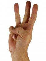 Mano, il numero tre con le dita
